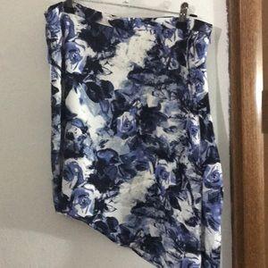 Harve Benard   Blue Rose Floral Asymmetrical Skirt